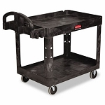 Rubbermaid Heavy Duty 2-Shelf Medium Utility Cart, Black (RCP 4520-88 BLA)