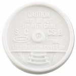 Dart Sip Thru Lids, Fits 6-10 oz. Cups, White fits 8J8 - 1000/cs (DCC8UL)