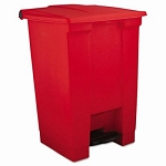 Rubbermaid Step-On 12 Gallon Plastic Waste Can, Red
