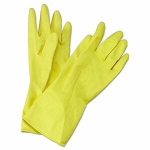 Boardwalk Flock-Lined Latex Gloves, Yellow, Medium, 12 Pairs (BWK 242M)