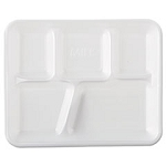 GNP 10500 Genpak School Tray Foam Serving Trays, 10 2/5 x 8 2/5 x 1 1/4, White, Five-Compartment