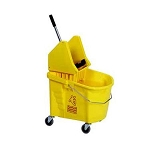 Continental 335-37YW Yellow Splash Guard 35 qt Mop Bucket With Downpress SW7 Wringer Combo