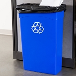 Continental 8322-1 23 Gallon Blue Wall Hugger Recycling Trash Can
