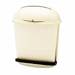 Rubbermaid Foot Pedal Rolltop 14.5 Gallon Garbage Can, Beige
