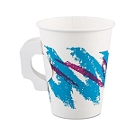 Solo Jazz Design Single Sided Poly Coated Paper Handle Hot Cup, 8 oz., 1000/cs (37J8HJZ)