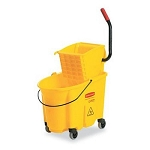 Rubbermaid Wavebrake 26-Quart Side Press Mop Bucket & Wringer Combo, Yellow (748018YW)