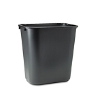 Rubbermaid Deskside Rectangular Medium Black Wastebasket - 28.13 Qt