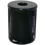 Thermoplastic Receptacle - 32 Gallon, Funnel Lid, Black