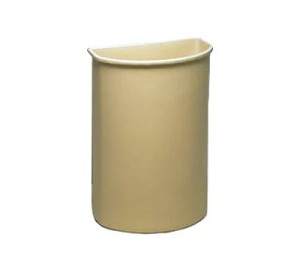 "Continental 8321BE Half Round Wall Hugger Garbage Can - 21 Gallon Capacity - 21 3/4"" W x 12"" D x 28 5/8"" H - Beige in Color"