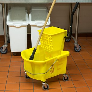 Continental 26 Qt. Yellow Splash Guard Mop Bucket with Side-Press Wringer