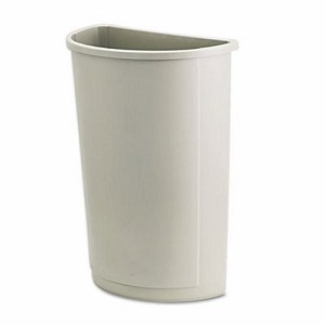 Rubbermaid 3520 Untouchable 21 Gallon Half Round Trash Can, Beige (RCP 3520 BEI)
