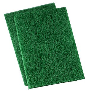 "Premiere Pads 186 Heavy Duty Scour Pad, 9"" Length x 6"" Width, Green (Case of 15)"