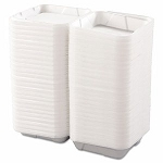 Hinged Carryout Containers, Foam, 1-Compartment, White