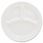 9 in - Impact Three Compartment Plastic Plates, 500 Plates