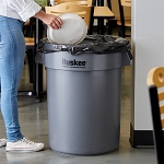 Trash Can 32 gal Round Huskee Gray