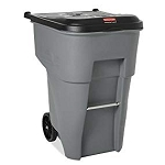 Rubbermaid Commercial Brute Rollout Heavy-Duty Waste Container, Square, Polyethylene, 95 Gallons, Gray with Wheels