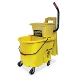 Side Press Splash Control Mop Bucket Wringer Combo - 35 Quart - Yellow