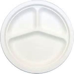 9 in. Styrofoam Plates Divided - 500/cs